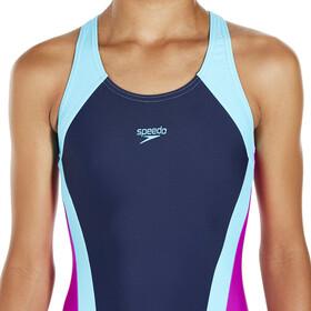 speedo Contrast Panel Splashback Swimsuit Girls Navy/Turquoise/Diva